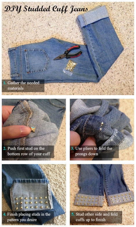 How to make cute DIY studded cuff jeans
